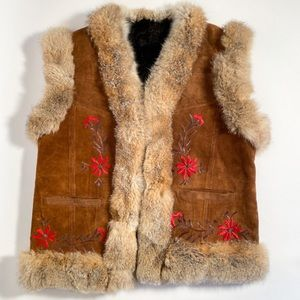 Vintage Nordic Embroidered Suede Rabbit Fur Vest